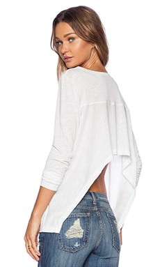 LNA Kissell Long Sleeve Top in White