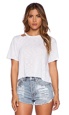 LNA Cut Out Crop Tee in White