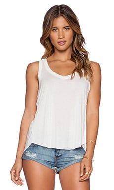 LNA Raw V Neck Tank in White