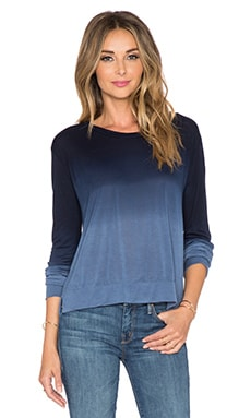LNA Crop Long Sleeve Tee in Blue & Navy Dye
