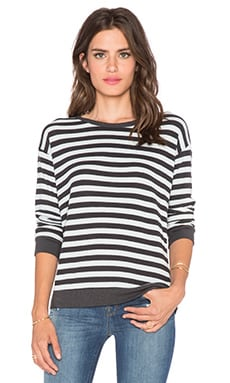 LNA Addison Long Sleeve Thermal in Charcoal & Ice Stripe