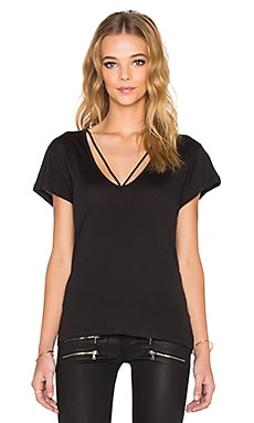 LNA Deep V Strappy Tee in Black