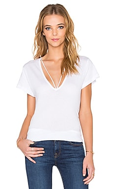 LNA Deep V Strappy Tee in White
