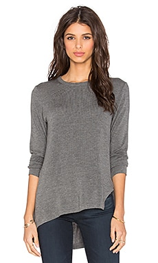LNA Niia Ribbed Lone Sleeve Tee in Marengo