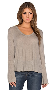 LNA Bell Long Sleeve Top in Bark