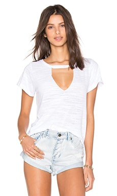 LNA Short Sleeve Cut Out V Neck Tee in White