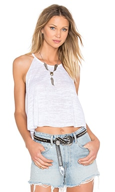 Swing Crop Bib Tank in White Burnout