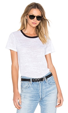 LNA Ringer Tee in White Burnout