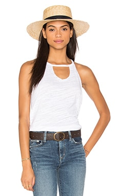 Cut Out Bib Tank in White