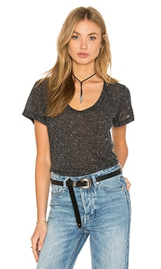 LNA Deep U Neck Tee in Heather Black
