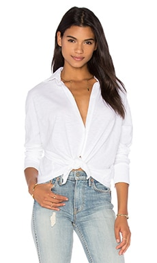 LNA Dolman Button Down Top in White