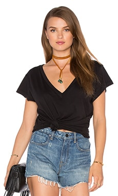Carmen V Neck Tee in Black