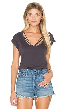 Strapped Deep V Tee in Faded Grey
