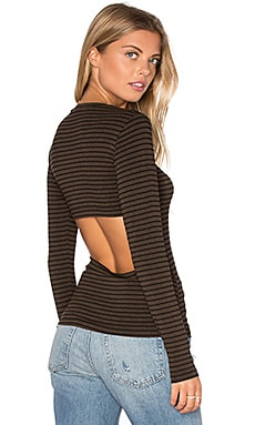 LNA Bella Long Sleeve Top in Chocolate Stripe