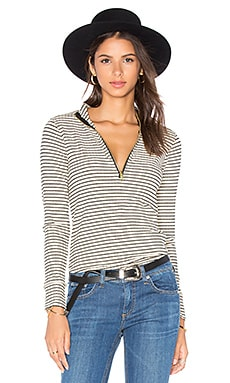 Cecile Top in Beige & Black Stripe
