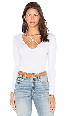 x REVOLVE Long Sleeve Cross Tee in White