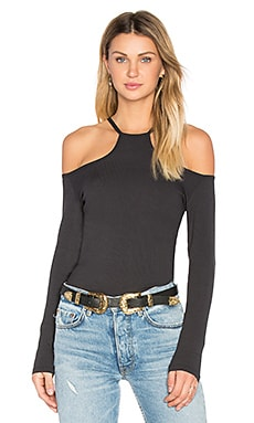 Cut Out Rib Long Sleeve Top in Onyx