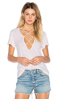 Twice Crossed Tee in Buff