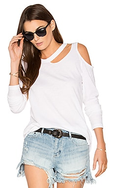 Long Sleeve Slash Tee in White