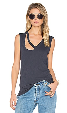 Fallon V Neck Tank in Navy Ink