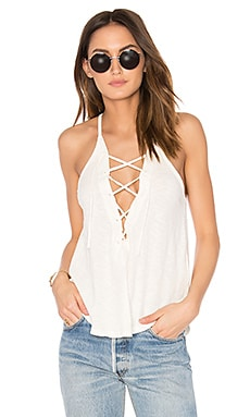 Lace Up Tank in Ivory