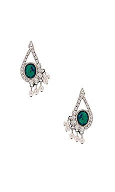 Lionette by Noa Sade Tenerif Earring in Rhodium & Jungle Green