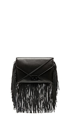 Loeffler Randall Fringe Lock Clutch in Black & Black