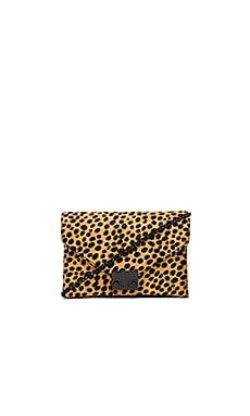 Loeffler Randall Junior Lock Clutch in Cheetah and Shiny Black Hardware
