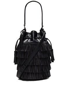 Loeffler Randall Industry Fringe Bucket Bag in Black & Black