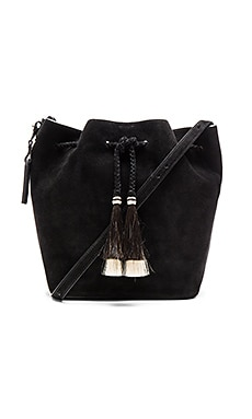 Drawstring Hobo Bag in Black & Black Natural