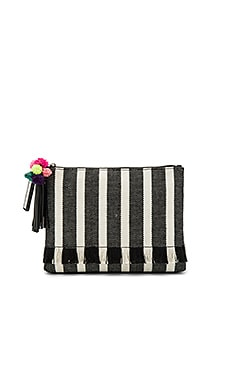 Tassel Pouch in Black Stripe