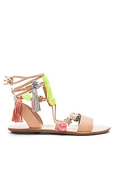 Suze Sandal in Wheat & Fluo Multi