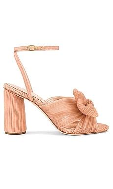 Camellia Pleated Knot Heeled Sandal Loeffler Randall $395 NEW