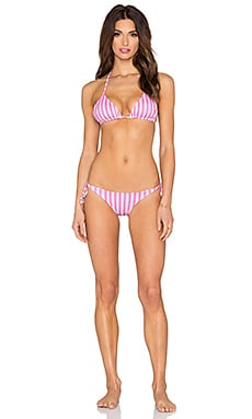 lolli swim The Keys Reversible Bikini Set in Neon Pink Stripes & Neon Pink