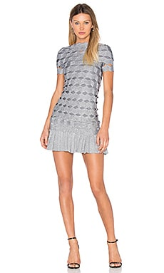 Joana Zig Zag Mini Dress en Prata