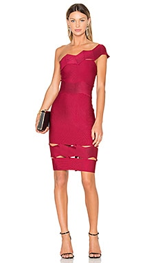 Livia One Shoulder Fitted Dress in Cereja