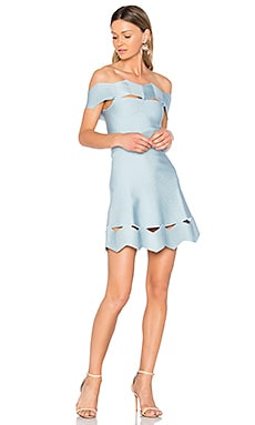 Livia Zig Zag Fit and Flare Dress in Acqua