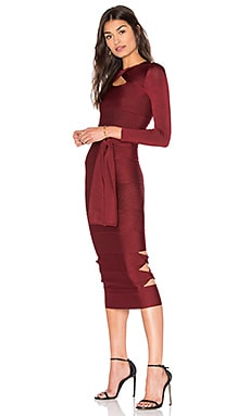 Sophia Long Sleeve Bodycon Dress in Bordo