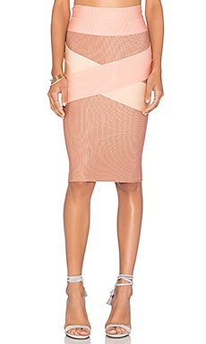 Bandage X Front Tri Color Skirt in Rose & Nude & Pitanga