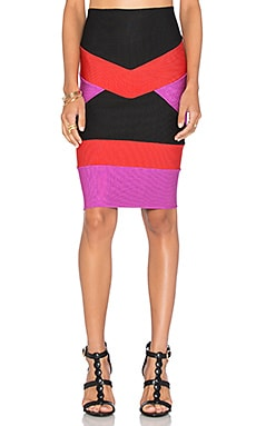 Bandage Tri Color Mini Skirt en Violet & Noir & Rouge