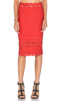 LOLITTA Squiggle Detail Mini Skirt in Red