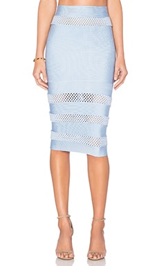 LOLITTA Mesh Cutout Midi Skirt in Light Blue