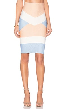 Bandage Tri Color Mini Skirt in Nude & Light Blue & Off White