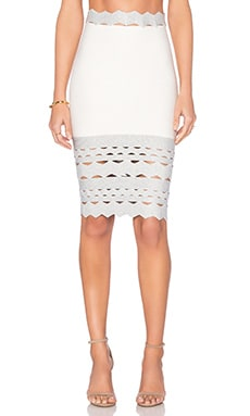 LOLITTA Cutout Hem Skirt in Off White & Silver