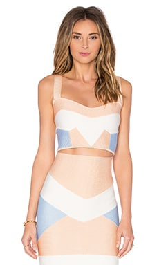LOLITTA Bandage Tri Color Crop Top in Nude & Light Blue & Off White