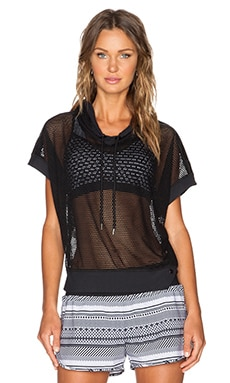 Lorna Jane Purity Mesh Crop Hoodie in Black
