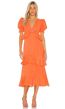 Linen Ruffle Midi Dress IORANE $550 NEW ARRIVAL