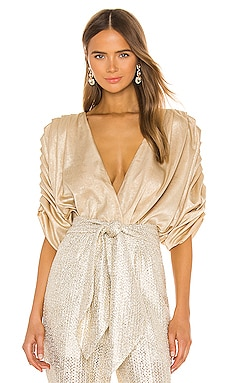 Golden Pleated Bodysuit IORANE $166