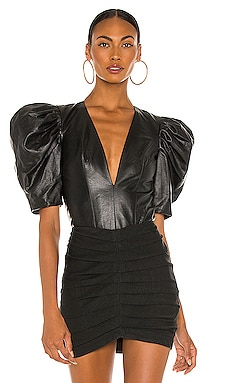 Vegan Leather Puff Sleeve Bodysuit IORANE $370