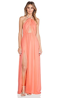 Le Salty Label Isla Twist Halter Maxi Dress in Coral